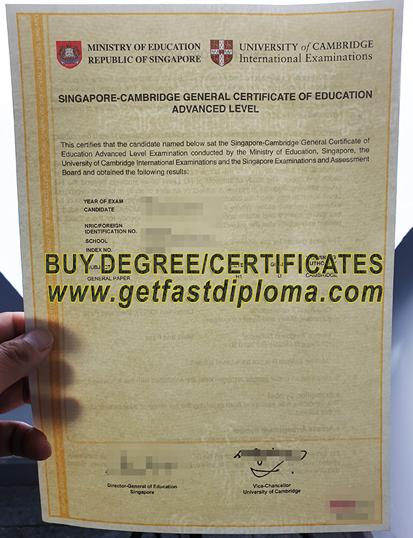 GCE Advanced Level Certificate sample