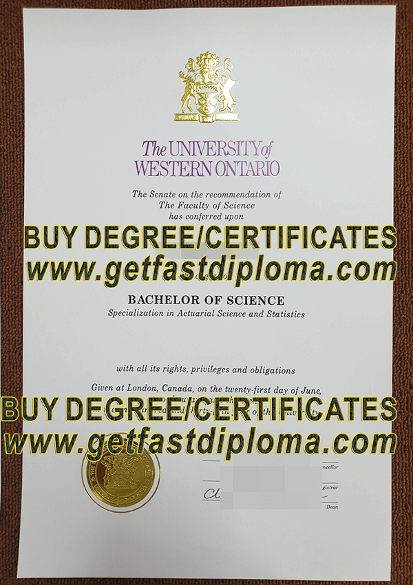 University of Western Ontario bachelor diploma sample