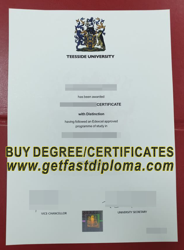 Teesside University Fake Certificate sample
