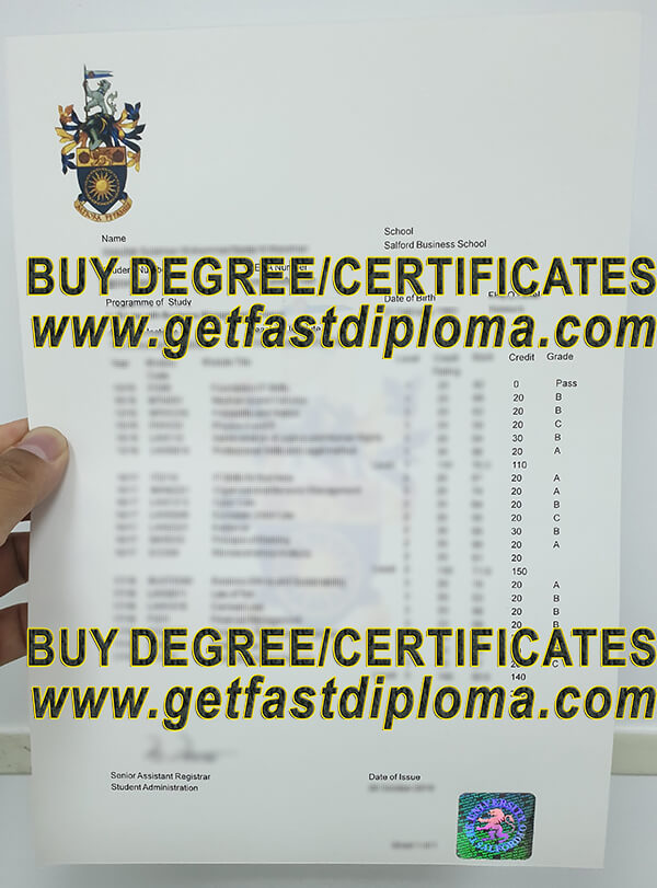 University of Salford Transcript free sample from getfastdiploma.com