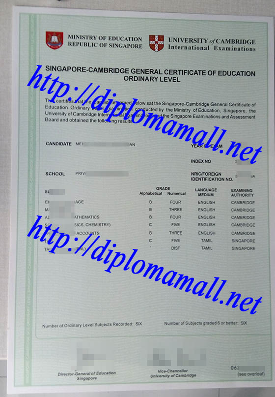 Singapore-Cambridge GCE certificate